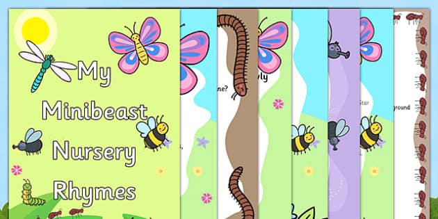 Minibeast Nursery Rhyme Booklet - minibeasts, minibeast, minibeast nursery rhymes, minibeast nursery rhymes booklet pack, minibeasts rhymes pack, minibeast poems pack, minibeast poems booklet, minibeasts poems booklet pack, zip pack, minibeasts rhyme