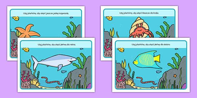Plansze do zabaw z plasteliną Świat podwodny po polsku - ryby