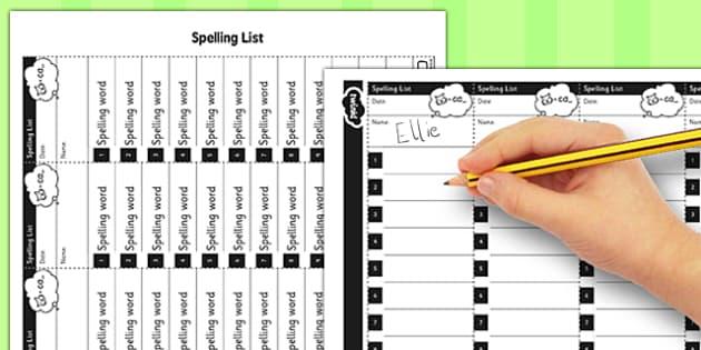 Editable Spelling Lists - editable, spelling, lists, spell, edit