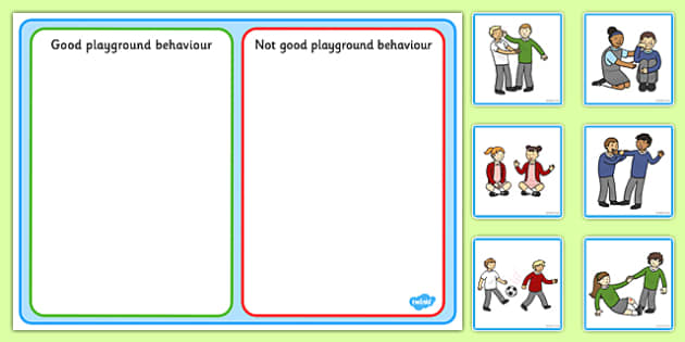 Good Playground Behavior Sorting and Discussion Cards USA - American, social, interaction, friends, behaviour, good, bad