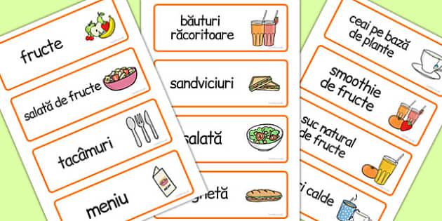 Mancam Sanatos , cartonase cu imagini si cuvinte, joc de rol, Romanian