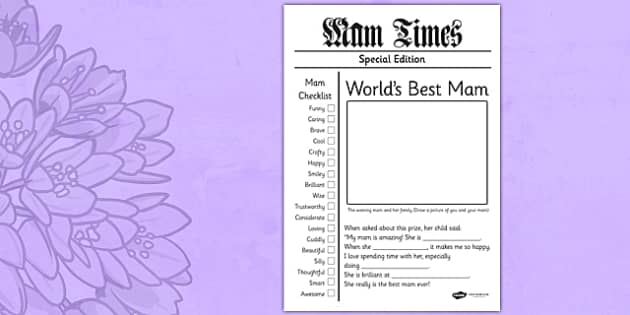 Mother's Day Newspaper Card Template Irish - mams, mammy, celebration, Ireland
