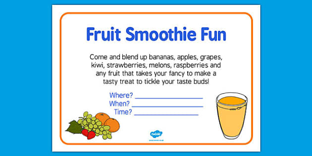 Elderly Care Hydration and Nutrition Week Fruit Smoothie Fun Poster - Elderly, Reminiscence, Care Homes, Hydration and Nutrition Week