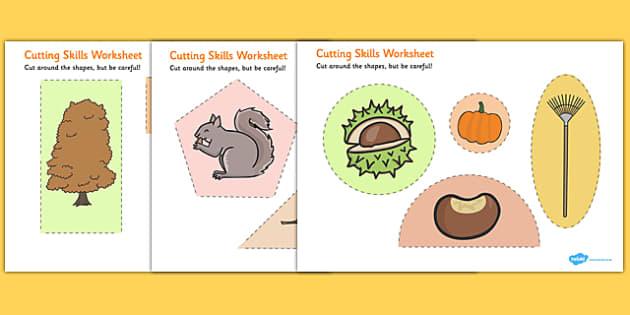 Autumn Themed Cutting Skills Worksheet - fine motor skill, season