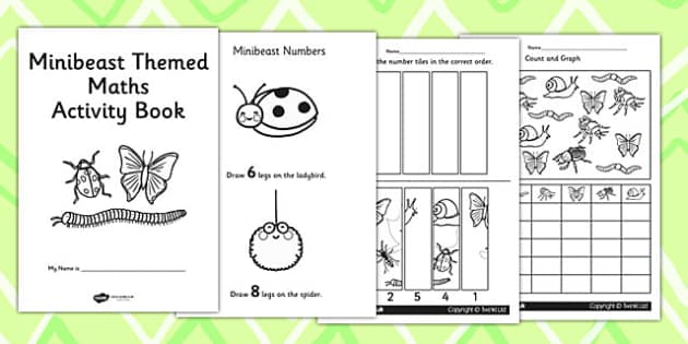 Minibeast Themed KS1 Maths Activity Book - numeracy, activities