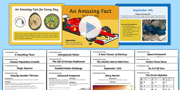 September Amazing Fact Of The Day PowerPoint and Activity Sheets Pack  , worksheet