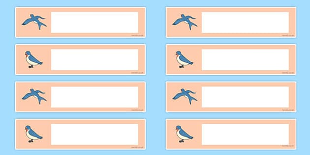 Swallow Themed Drawer Peg Name Labels - class, set-up, room name, birds, swallow, animals, ks1, ks2, display,