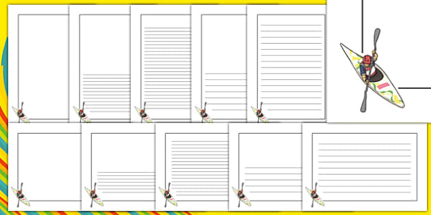 Rio 2016 Olympics Canoeing Page Borders - Canoeing, Olympics, Olympic Games, sports, Olympic, London, 2012, page border, border, writing template, writing aid, writing, activity, Olympic torch, events, flag, countries, medal, Olympic Rings, mascots,