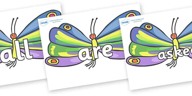 Tricky Words on Butterflies to Support Teaching on The Very Hungry Caterpillar - Tricky words, DfES Letters and Sounds, Letters and sounds, display, words