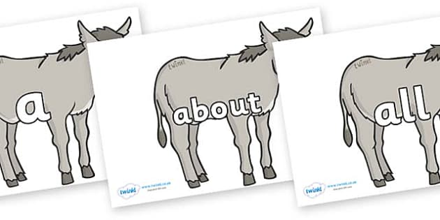 100 High Frequency Words on Donkeys - High frequency words, hfw, DfES Letters and Sounds, Letters and Sounds, display words