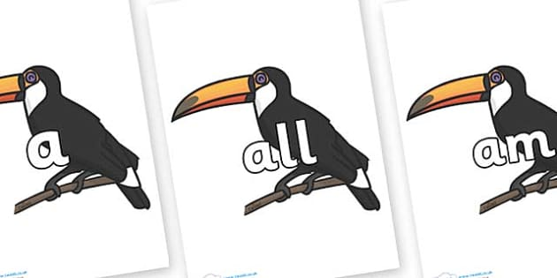 Foundation Stage 2 Keywords on Toucan - FS2, CLL, keywords, Communication language and literacy,  Display, Key words, high frequency words, foundation stage literacy, DfES Letters and Sounds, Letters and Sounds, spelling