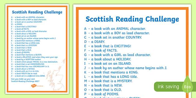 Scottish Reading Challenge ABC A4 Display Poster-Scottish