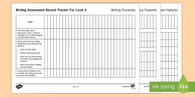 New Zealand Level 4 Writing Assessment Tracker - Year 7, Year 8, Level 4, Writing, Assessment