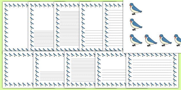 Swallows Page Borders - swallows, page borders, writing frames, bird
