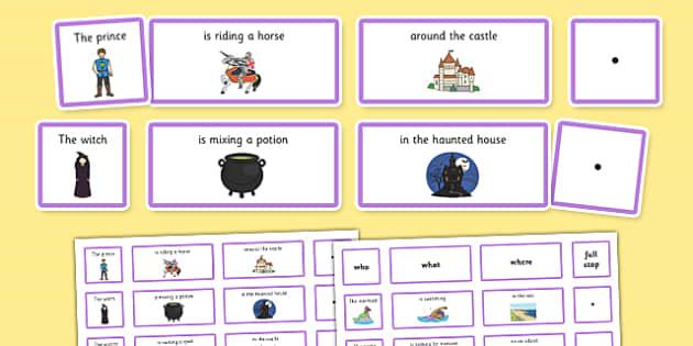 Fantasy Sentence Building Cards EAL - sentence, building, cards