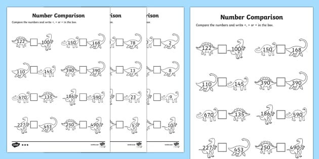 Dinosaur Themed Number Comparison Activity Sheets - dinosaur, number comparison, number, compare, comparison, activity