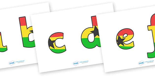 Display Lettering & Symbols (Ghana Flag) - Display lettering, display letters, alphabet display, letters to cut out, letters for displays, coloured letters, coloured display, coloured alphabet, Africa, Ghana, flag