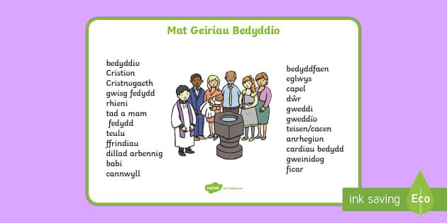 Bedyddio Mat Geiriau - bedydd, bedyddio, christening, babtised, cannwyll, candle, rhieni, parents, rhieni bedydd, god paren