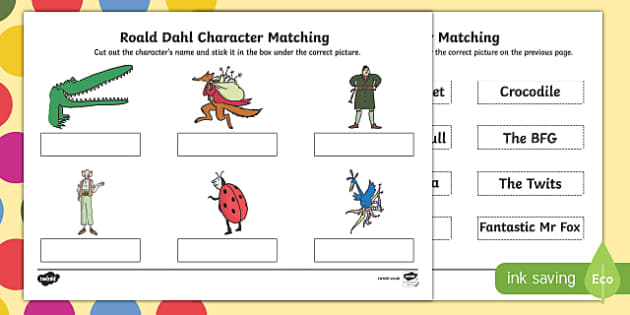 Roald Dahl Character Matching SEN Activity Sheet, worksheet