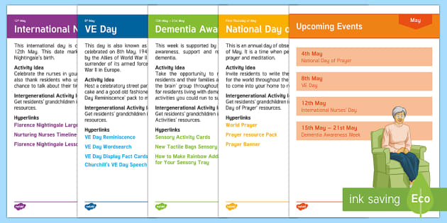 Calendar Planning May 2017 Resource Pack - Calendar Planning May 2017, Activity Co-ordinator, Support, Ideas, Elderly Care, Care Homes