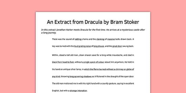 Dracula Extract Lower Ability - dracula, extract, story, ks3, bram stoker, vampire
