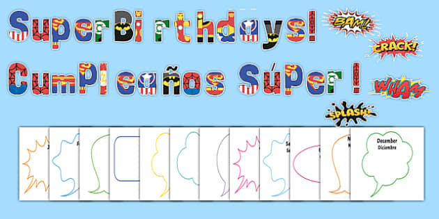 Superhero Themed Birthday Display Pack Spanish Translation - spanish, Signs and Labels, birthdays, birthday, superheroes, action, comic
