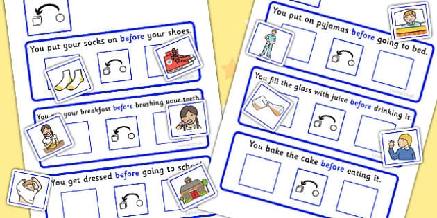 Before Cards Cut And Stick Activity - order, sort, cutting skills