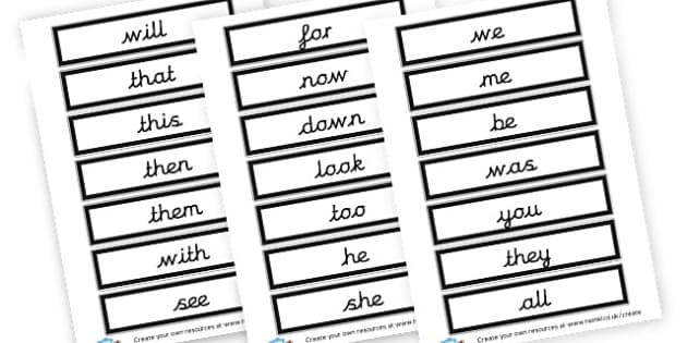 High Frequency Words Cards - High Frequency Words Visual Aids Primary Resources, letters, frquency