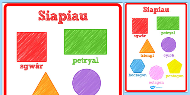 Poster Siapiau 2D - 2d, shapes, posters, display, welsh