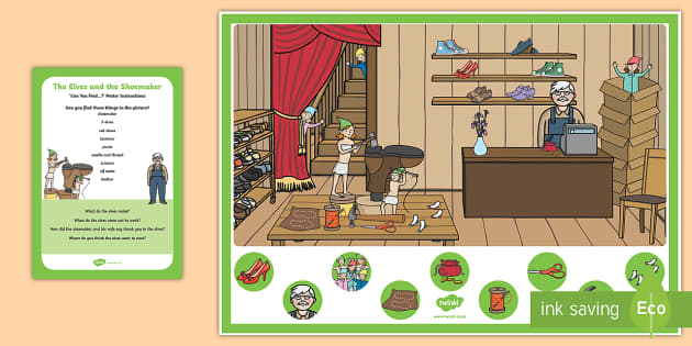 The Elves and the Shoemaker Can you Find...? Poster and Prompt Card Pack - The Elves and the Shoemaker, traditional tales, Christmas, elf, shoe, workshop, can you find, hidden