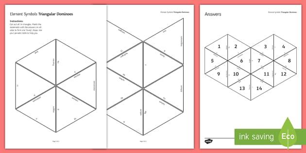 Element Symbols Tarsia Triangular Dominoes - Tarsia, gcse, chemistry, element, elements, symbols, periodic table