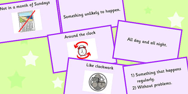 Time Idioms Matching Cards - time, idioms, matching, cards, match