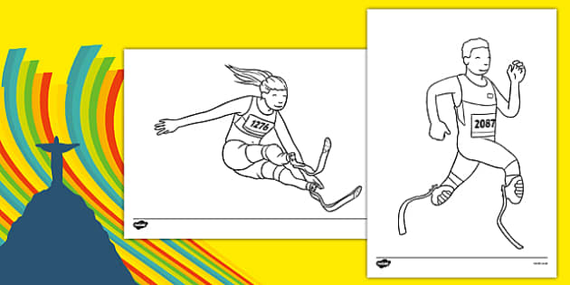 The Paralympic Events Athletics Colouring Sheets - Athletics, athlete, running, Paralympics, sports, wheelchair, visually impaired, colouring, fine motor skills, poster, worksheet, vines, A4, display, 2012, London, Olympics, events, medal, compete, O