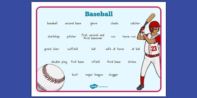 Baseball Vocabulary Mat - usa, baseball, mlb, major league baseball, vocabulary mat