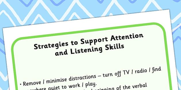 Strategies To Support Attention And Listening Skills - listening