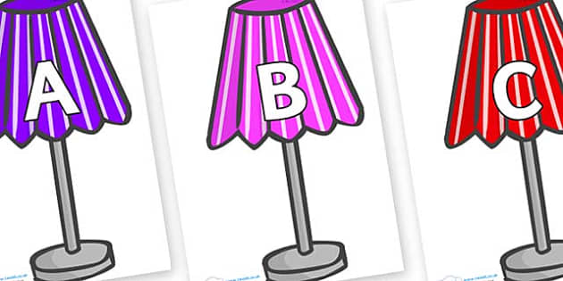 A-Z Alphabet on Lamps - A-Z, A4, display, Alphabet frieze, Display letters, Letter posters, A-Z letters, Alphabet flashcards
