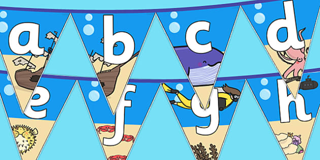 Under The Sea Themed Alphabet Bunting - under the sea, alphabet bunting, A-Z bunting, under the sea A-Z bunting, under the sea alphabet bunting, alphabet buntin