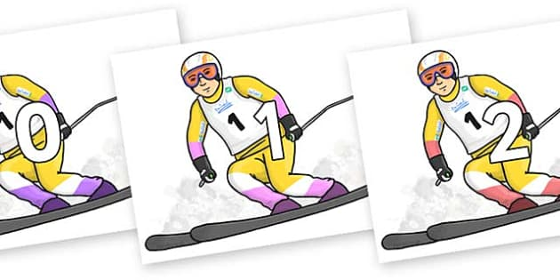 Numbers 0-100 on Alpine Skating - 0-100, foundation stage numeracy, Number recognition, Number flashcards, counting, number frieze, Display numbers, number posters