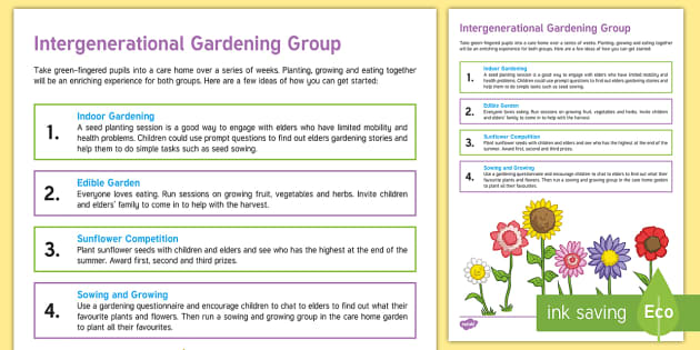 Intergenerational Gardening Group Teaching Ideas - Intergenerational Ideas, Gardening, Ideas, Support, Schools, Community, Children, Class, Ideas, Elde