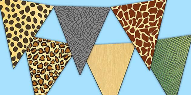 Safari Animal Patterns Themed Display Bunting - safari, safari bunting, safari animal bunting, safari animal patterns bunting, safari animal skins bunting