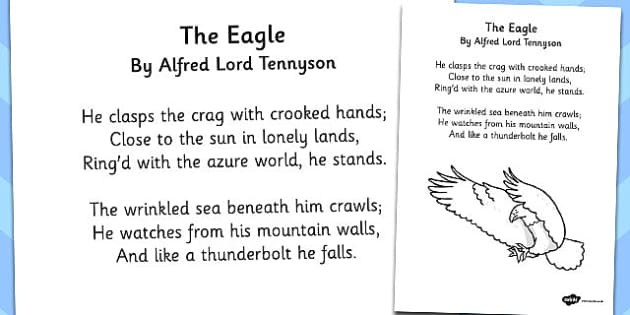 The Eagle' by Alfred Lord Tennyson Poem Sheet - ks2 poetry