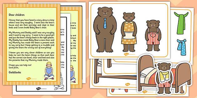 Goldilocks Size Ordering Pictures Activity Pack - goldilocks