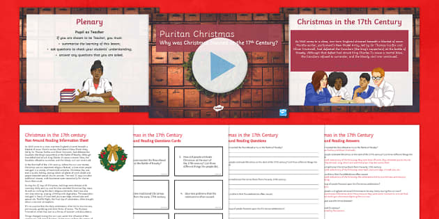 Puritans and Christmas Lesson Pack - KS3/4 History Christmas Resources, Puritans and Christmas, 1645, English Civil War, Roundheads, Parl