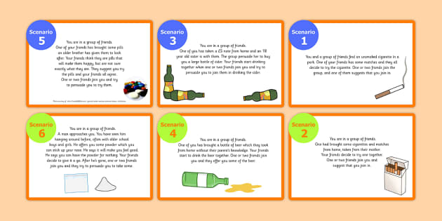 Year 6 Alcohol and Drugs Role Play Scenario Activity - roleplay