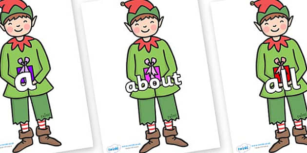 100 High Frequency Words on Elf (Plain) - High frequency words, hfw, DfES Letters and Sounds, Letters and Sounds, display words