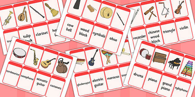 Name the Musical Instrument Cards - Music, instrument, action, word card, flashcard, word cards, playing instruments, piano, drums, guitar, recorder, violin, triangle, cymbals, notes, music