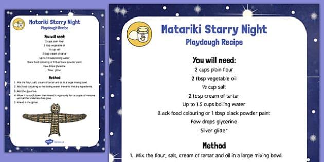 Matariki Starry Night Playdough Recipe - nz, new zealand, starry night, playdough, recipe