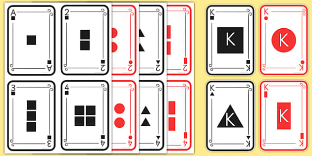 2D Shape Playing Cards - 2D shapes, playing cards, circle, square, triangle, rectangle, properties