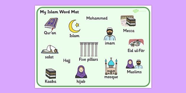 Islam Word Mat - muslim, religion, religious education, RE
