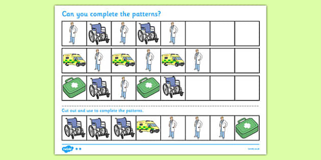 Doctor's Surgery Complete the Pattern Worksheet - doctors